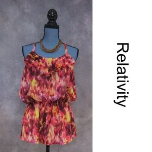 NEW Relativity Pink Modern Floral Tiered Blouse L